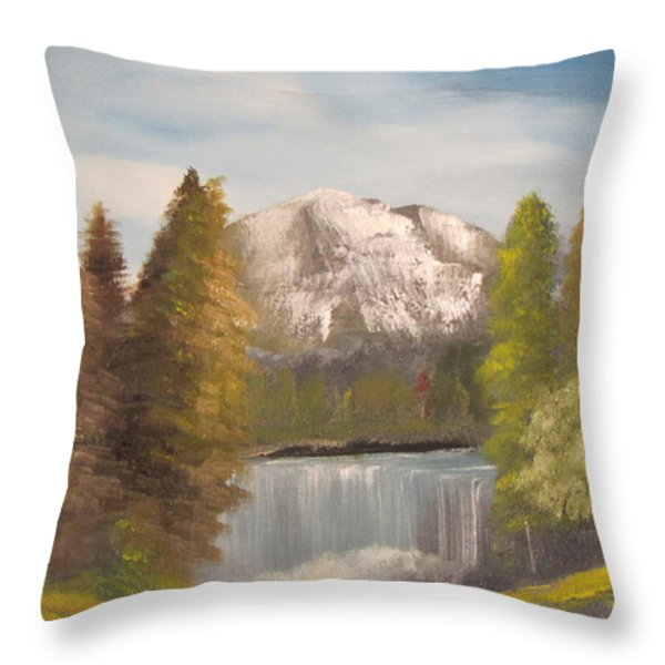 Mountain View Throw Pillow by Dawn Nickel