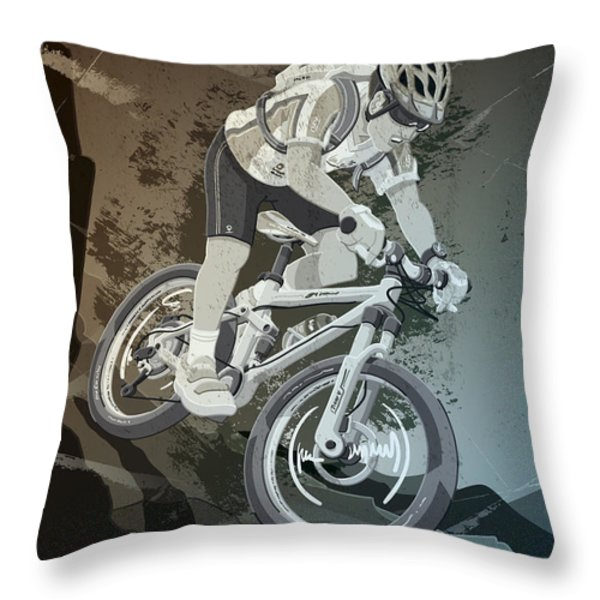 Mountainbike Sports Action Grunge Monochrome Throw Pillow by Frank Ramspott