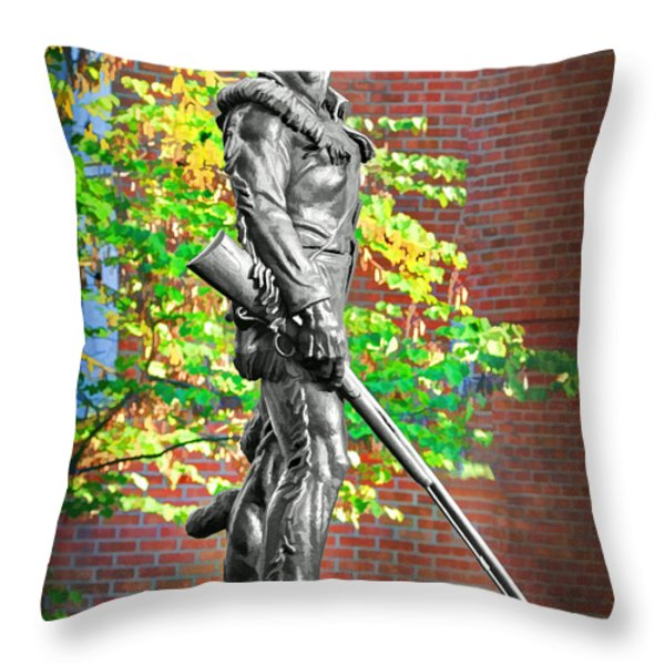 Mountaineer statue Throw Pillow by Dan Friend