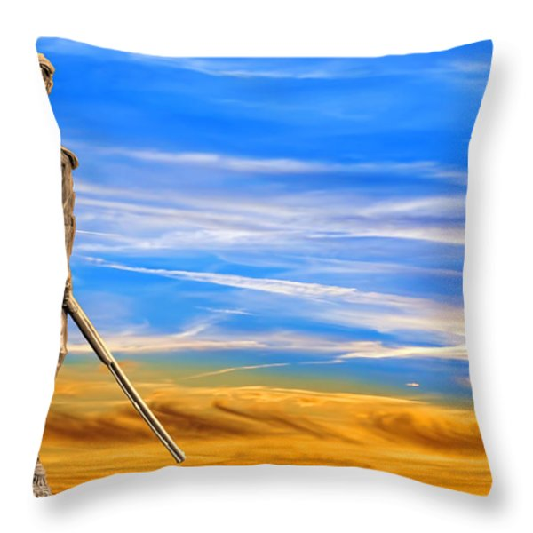 Mountaineer Statue With Blue Gold Sky Throw Pillow by Dan Friend