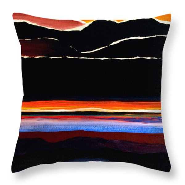 Mountains Abstract Throw Pillow by Karon Melillo DeVega