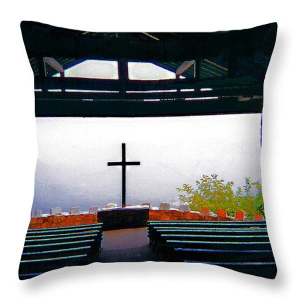 Mountaintop Chapel Throw Pillow by CHAZ Daugherty