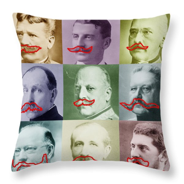 Moustaches Throw Pillow by Tony Rubino