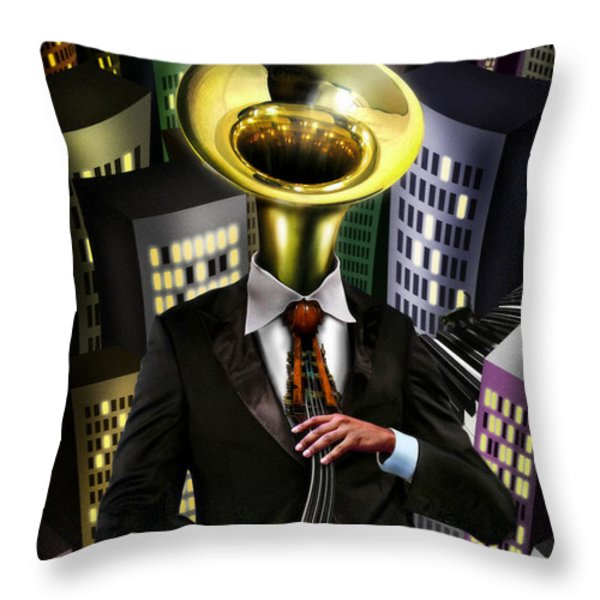 Mr Blue Throw Pillow by Alessandro Della Pietra