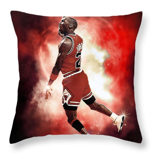 Mr. Michael Jeffrey Jordan Aka Air Jordan Mj Throw Pillow by Nicholas  Grunas