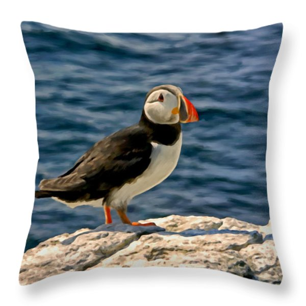 Mr. Puffin Throw Pillow by Michael Pickett