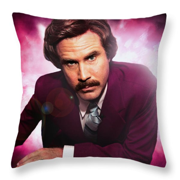 Mr. Ron Mr. Ron Burgundy from Anchorman Throw Pillow by Nicholas  Grunas