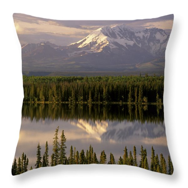 Mt Drum Over Willow Lake Wrangell-st Throw Pillow by Calvin Hall