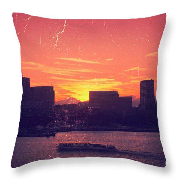 Mt Fuji at Sunset Over Yokohama Bay Throw Pillow by Beverly Claire Kaiya