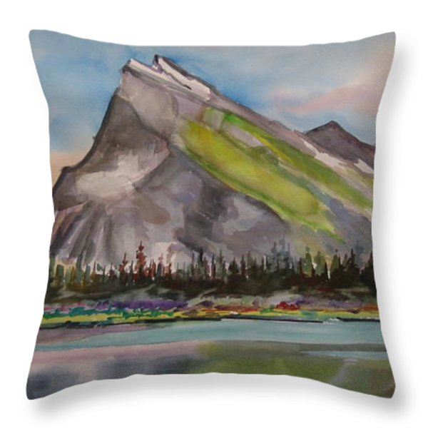 Mt. Rundle Throw Pillow by Mohamed Hirji