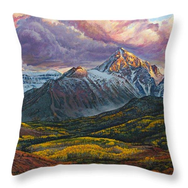 Mt. Sneffels Throw Pillow by Aaron Spong