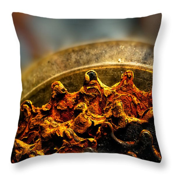 Muddy Rusty Sprockets Throw Pillow by Bob Orsillo