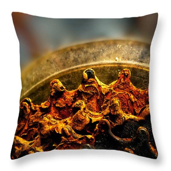 Muddy Rusty Sprockets Throw Pillow by Bob Orsillo