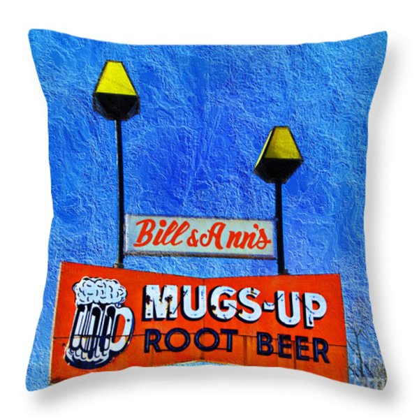Mugs Up Root Beer Drive In Sign Throw Pillow by Andee Design