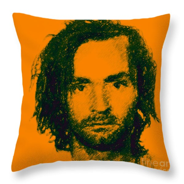 Mugshot Charles Manson P0 Throw Pillow by Wingsdomain Art and Photography