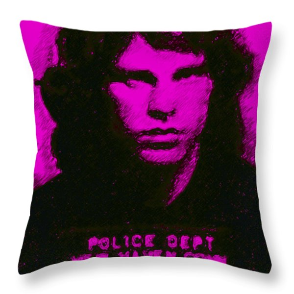 Mugshot Jim Morrison m88 Throw Pillow by Wingsdomain Art and Photography