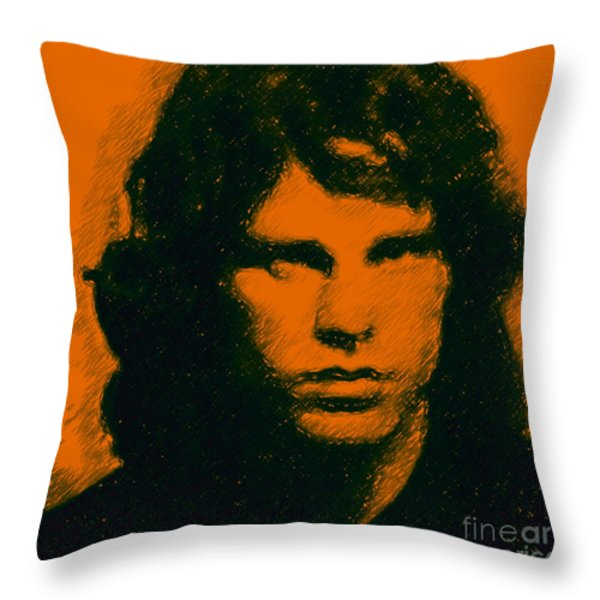 Mugshot Jim Morrison Square Throw Pillow by Wingsdomain Art and Photography