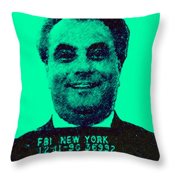 Mugshot John Gotti p128 Throw Pillow by Wingsdomain Art and Photography