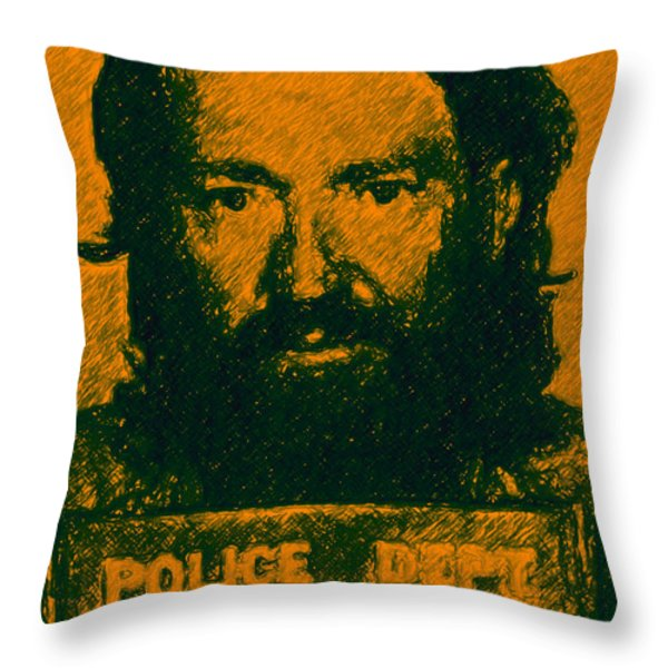 Mugshot Willie Nelson p0 Throw Pillow by Wingsdomain Art and Photography