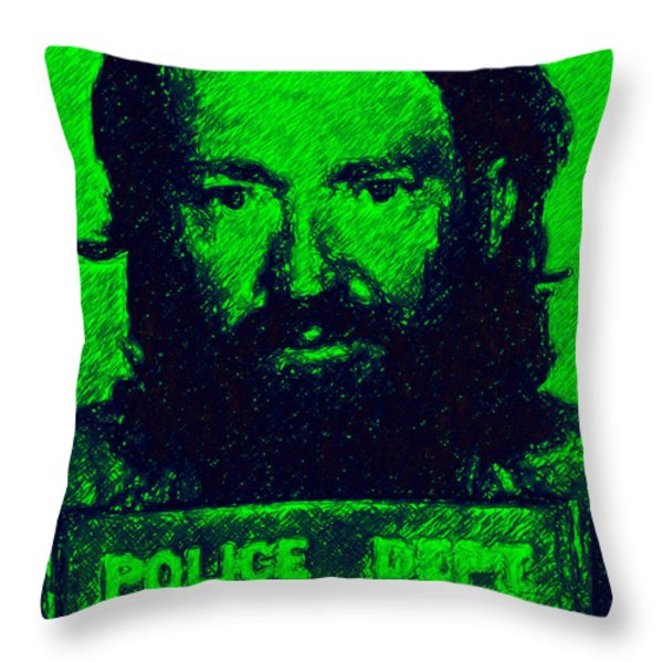 Mugshot Willie Nelson p88 Throw Pillow by Wingsdomain Art and Photography