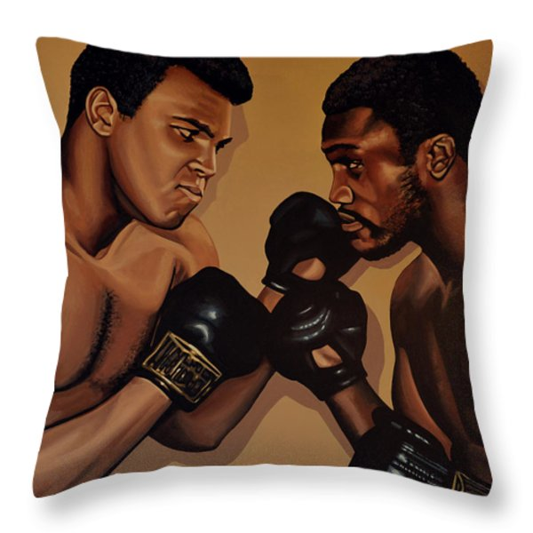 Muhammad Ali and Joe Frazier Throw Pillow by Paul  Meijering
