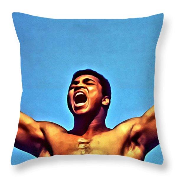 Muhammad Ali Throw Pillow by Florian Rodarte