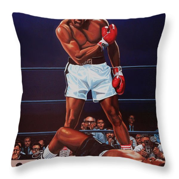 Muhammad Ali versus Sonny Liston Throw Pillow by Paul  Meijering
