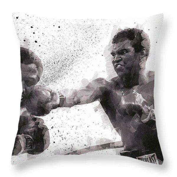 Muhammad Ali Vs Joe Frazier Throw Pillow by Daniel Hagerman