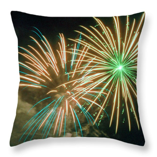4th of July Fireworks 2 Throw Pillow by Howard Tenke