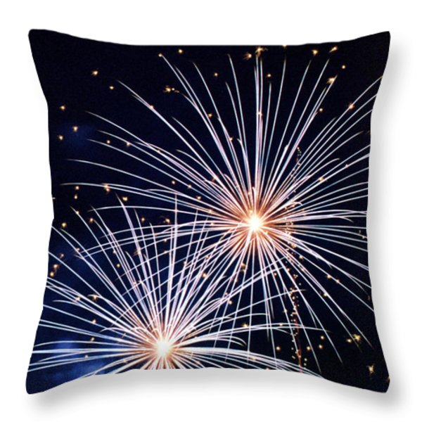 4th of July Fireworks 3 Throw Pillow by Howard Tenke