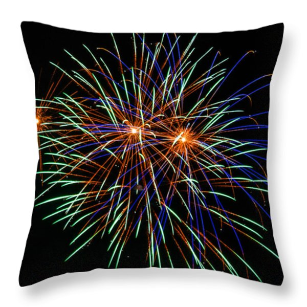 4th of July Fireworks 22 Throw Pillow by Howard Tenke
