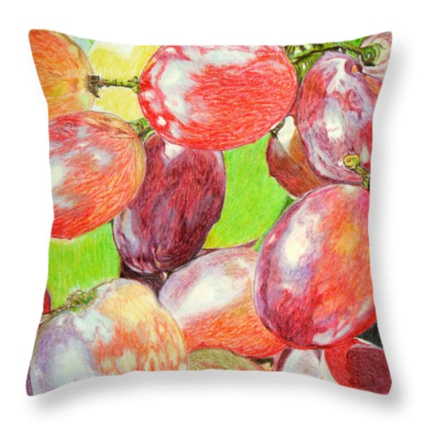 Multi Coloured Grapes Throw Pillow by Yvonne Johnstone