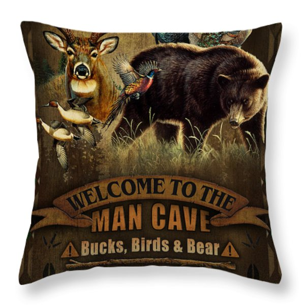 Multi Specie Man Cave Throw Pillow by JQ Licensing