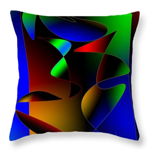 Multicolor Abstract Art Throw Pillow by Mario  Perez