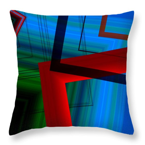 Multicolor Geometric Shapes In Digital Art Throw Pillow by Mario Perez