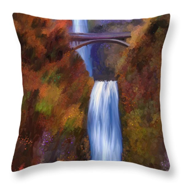Multnomah Falls In Autumn Throw Pillow by Angela A Stanton