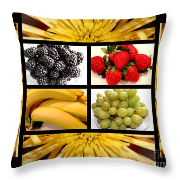 Mums Fruit Collage Throw Pillow by Barbara Griffin
