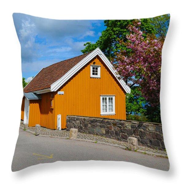 Munch's House Throw Pillow by Randi Grace Nilsberg