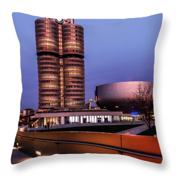 munich - BMW office - vintage Throw Pillow by Hannes Cmarits
