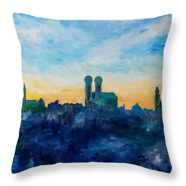 Munich Skyline With Church Of Our Lady Throw Pillow by M Bleichner