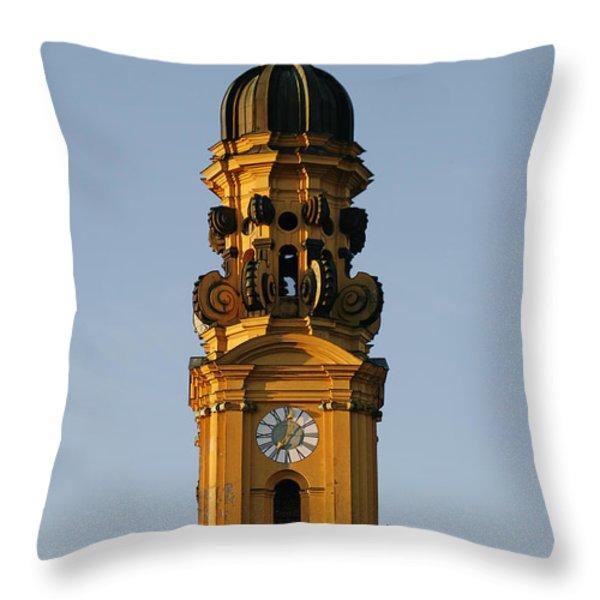 Munich Theatine Church Of St. Cajetan - Theatinerkirche St Kajetan Throw Pillow by Christine Till
