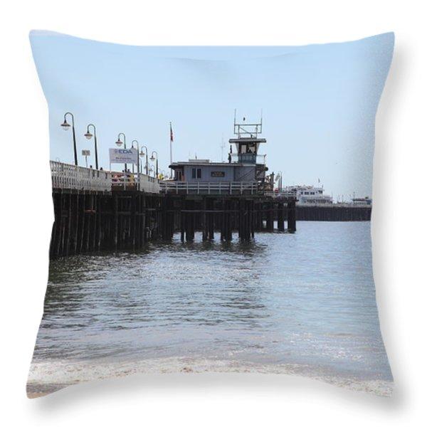 Municipal Wharf At The Santa Cruz Beach Boardwalk California 5D23767 Throw Pillow by Wingsdomain Art and Photography