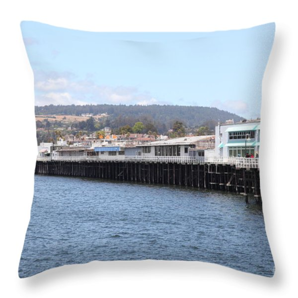 Municipal Wharf At The Santa Cruz Beach Boardwalk California 5d23813 Throw Pillow by Wingsdomain Art and Photography