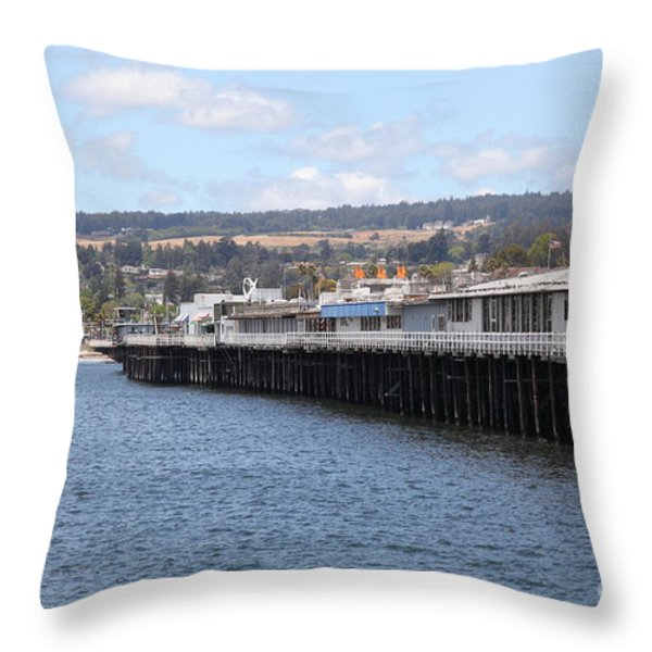 Municipal Wharf At The Santa Cruz Beach Boardwalk California 5D23815 Throw Pillow by Wingsdomain Art and Photography
