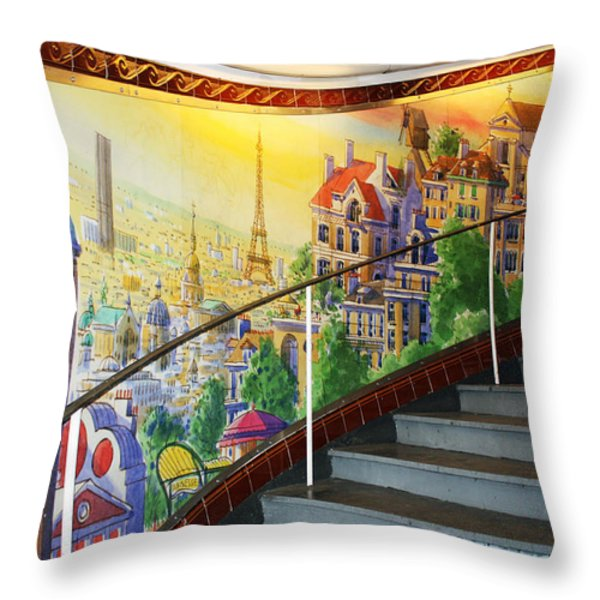 Mural In The Paris Metro Throw Pillow by Kathy Yates