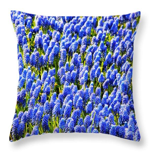 Muscari Early Magic Throw Pillow by Jasna Buncic