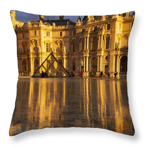 Musee du Louvre Sunset Throw Pillow by Brian Jannsen