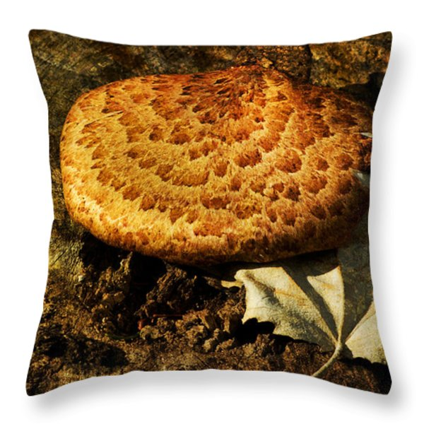 Mushroom And Leaf Throw Pillow by Jack Zulli