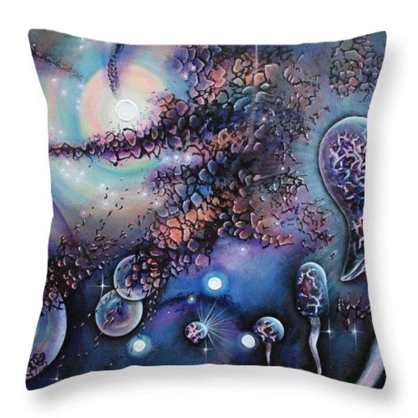 Mushroom Evolution Throw Pillow by Krystyna Spink