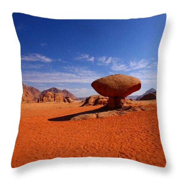 Mushroom Rock Throw Pillow by FireFlux Studios